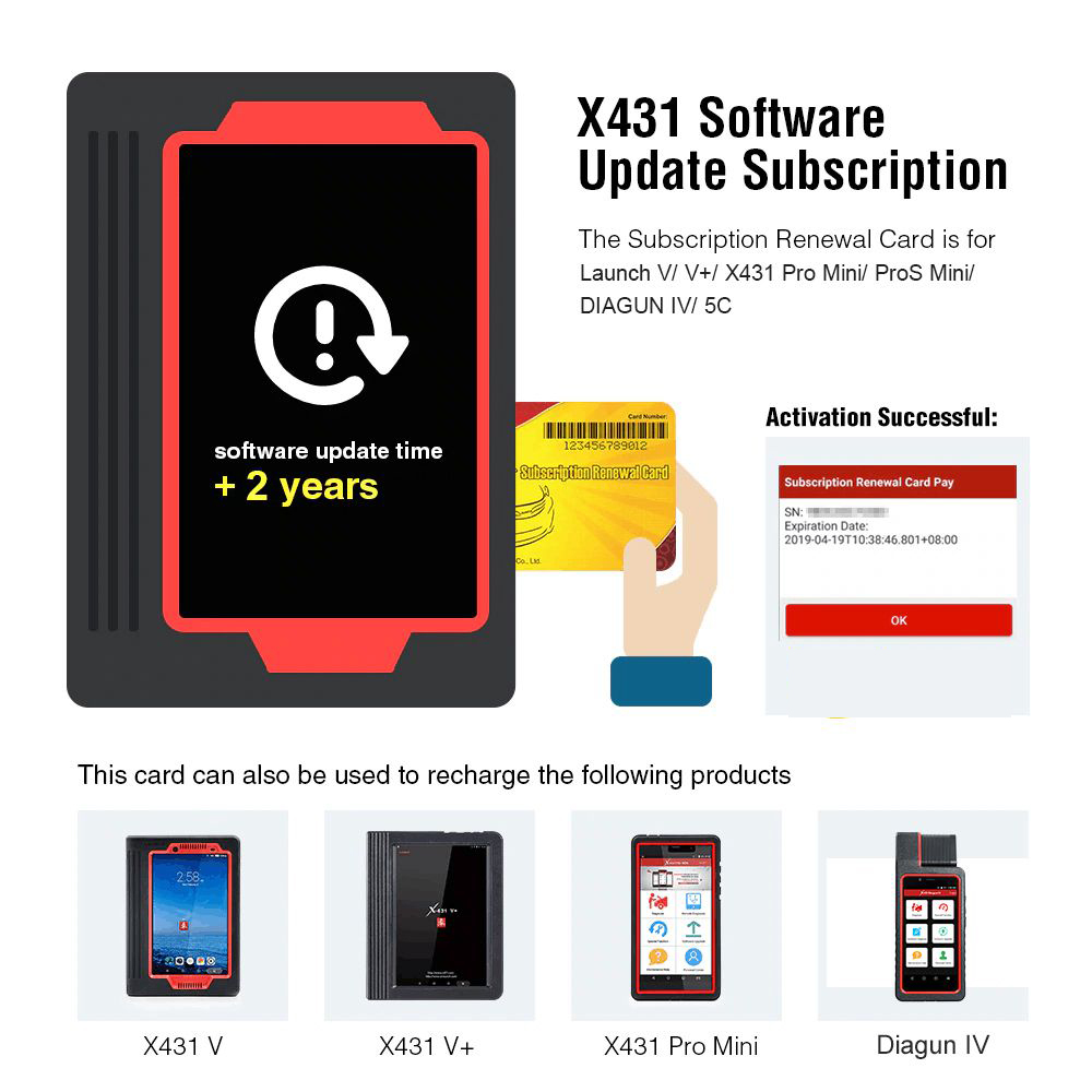 2 Years Update Service for Launch V/ V+/ X431 Pro Mini/ ProS Mini/ DIAGUN IV/ 5C
