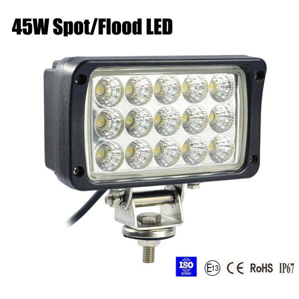 45W Spot/Flood LED Work Light OffRoad Jeep Boat Truck IP67 12V 24V White
