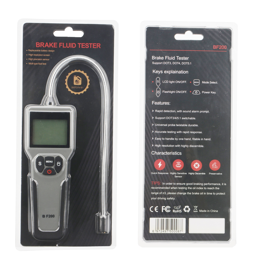 BF200 Digital Brake Fluid Tester for DOT3 DOT4 DOT5.1 Water Content Detector LED Display Oil Quality Test Pen Car Accessories