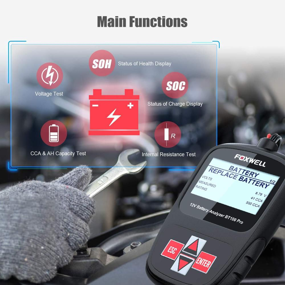 FOXWELL BT100 PRO 12V Car Battery Tester For Flooded AGM GEL 100 to 1100CCA 200AH Test Battery Health/Faults Analyzer Diagnostic