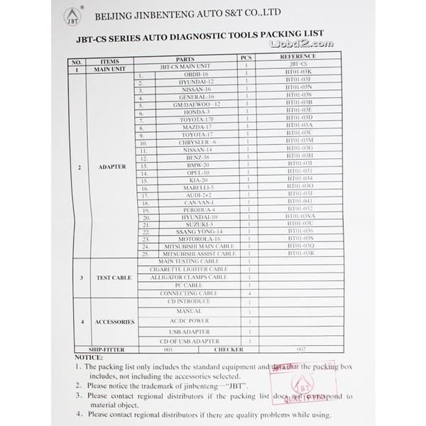 JBT CS538D Scanner Package list