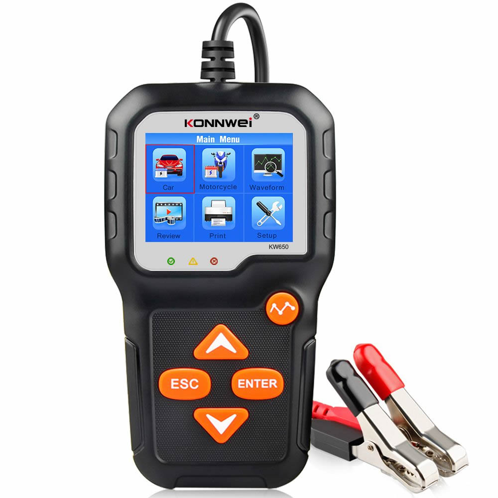 KONNWEI KW650 Car Motorcycle BatteryTester 12V 6V  Battery System Analyzer 2000CCA Charging Cranking Test Tools for the Car