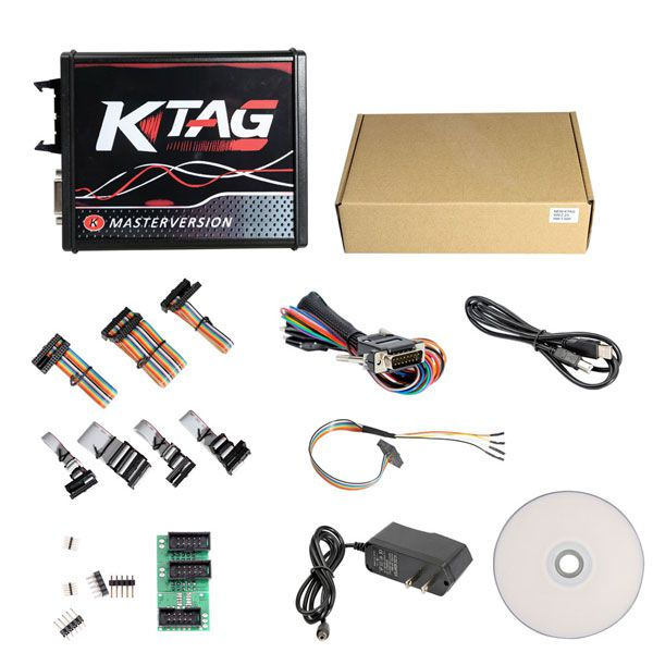 New 4 LED KTAG V7.020 Firmware EU Version Red PCB Latest V2.25 No Token Limitation Multi-Language K-TAG 7.020 Online Version