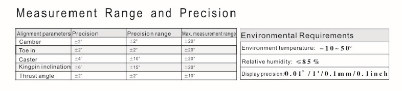 LAUNCH X831Plus measurement range and precision