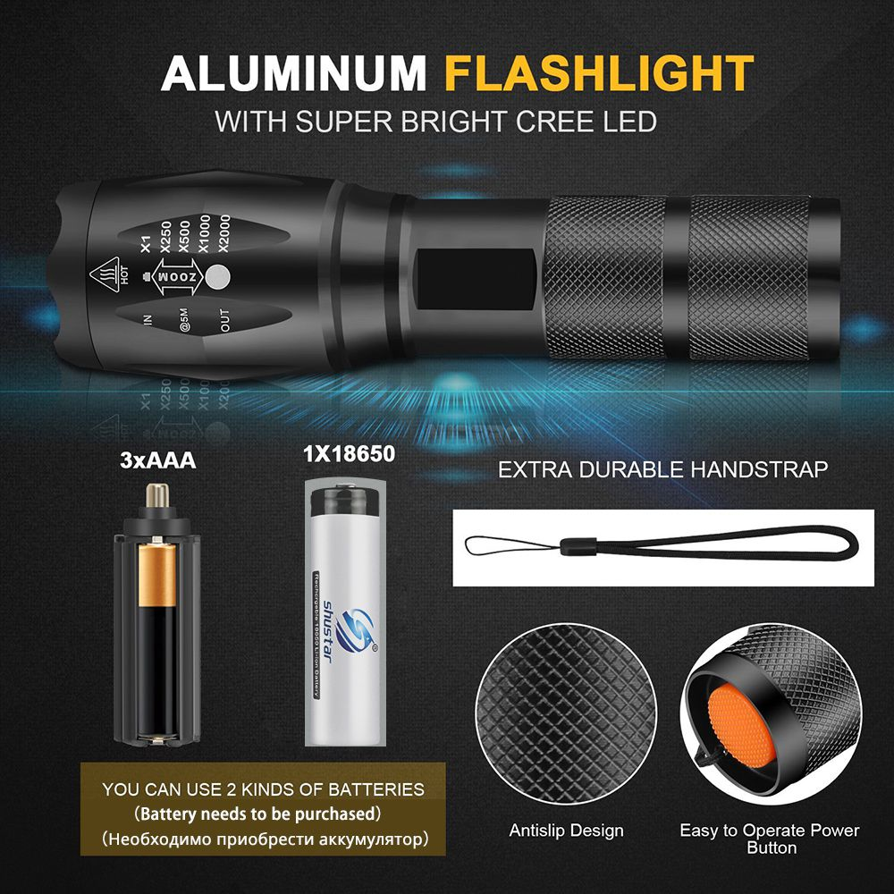 Led Flashlight XML T6 Linterna Torch 1000 Lumens Outdoor Camping Powerful Led Flashlight Waterproof