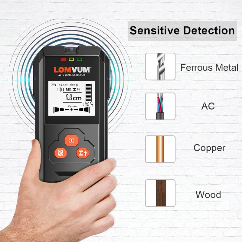 LOMVUM Metal Detector Backlit Black AC Wood Finder Cable Wires Depth Tracker Undeground Sturs Wall Scanner LCD HD Display Beep