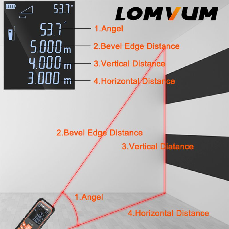 LOMVUM Laser Range Finder LV66U Auto Level Distance Meter Electronic Analysis Measuring Instrument Rangefinder 40m 80m 100m120m