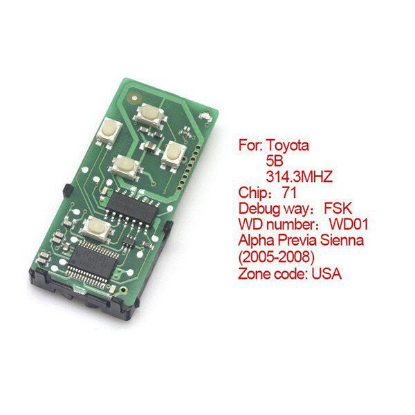 Toyota Smart Card Board 5 Buttons 314.3MHZ Number 271451-6221-USA