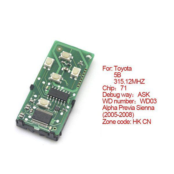 Toyota Smart Card Board 5 Buttons 315.12MHZ Number :271451-0780-HK-CN