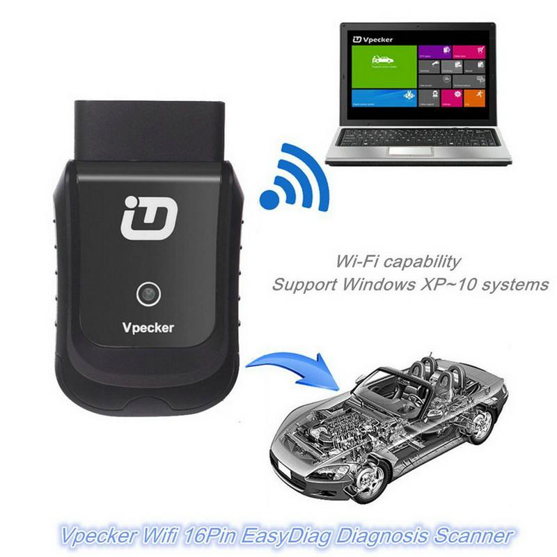 V10.2 VPECKER Easydiag Wireless OBDII Full Diagnostic Tool Support  WIN10 Black With Wifi and Oil Reset Function