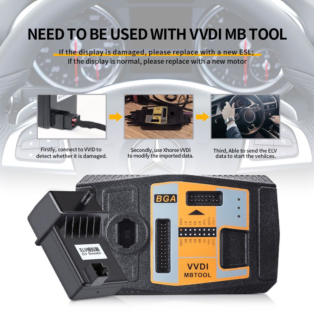 XHORSE ELV Emulator for Benz 204 207 212 with VVDI MB Tool & CGDI Prog MB