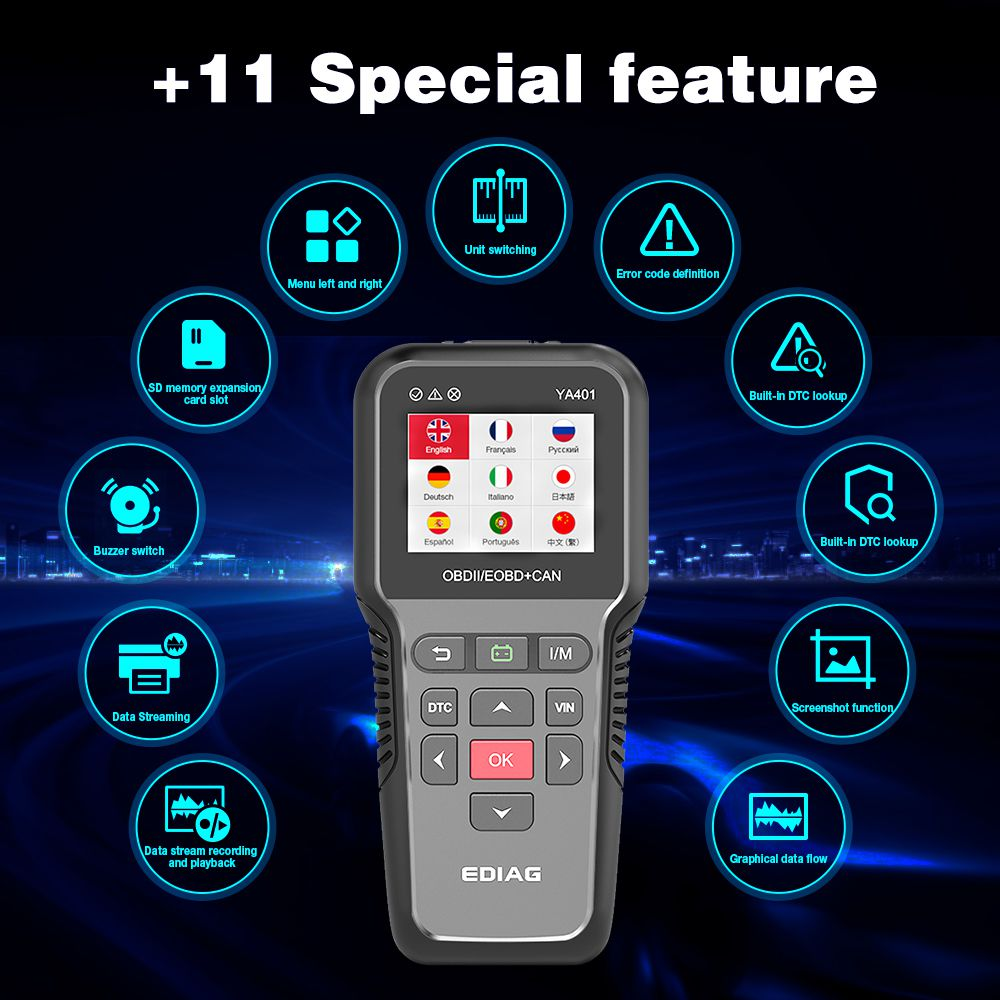 YA401 EDIAG Scanner Tool EOBD/OBDII code reader Support Free update Car Diagnosis auto obd2  battery tester 12v