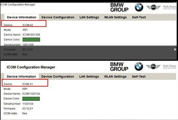 BMW ICOM A2 Comparison