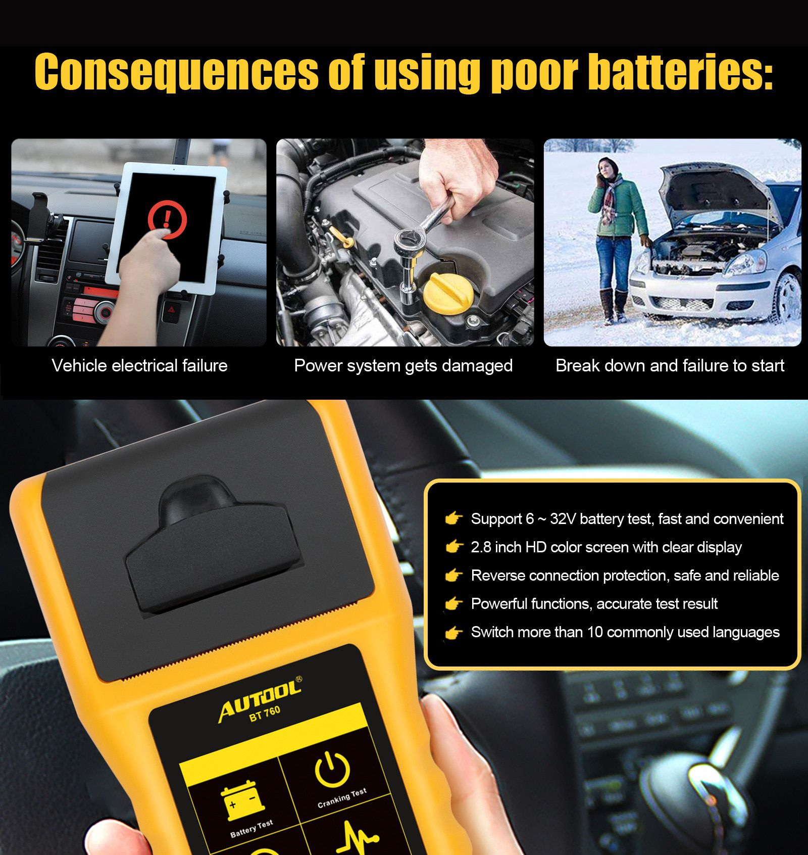 AUTOOL BT760 12V 24V Car Battery Tester