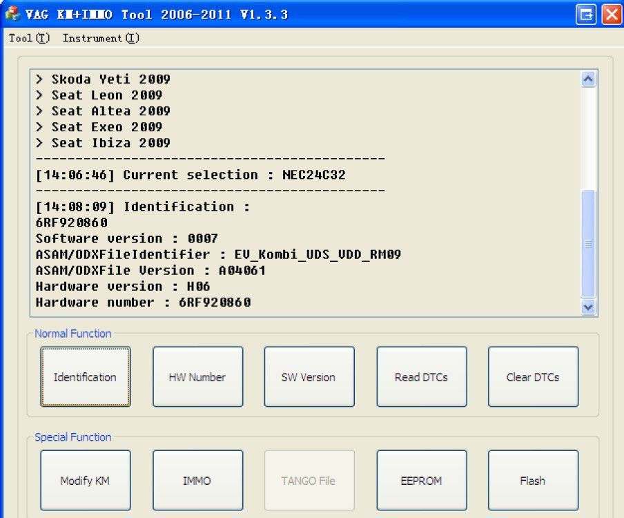 VAG KM+IMMO tool software display 2