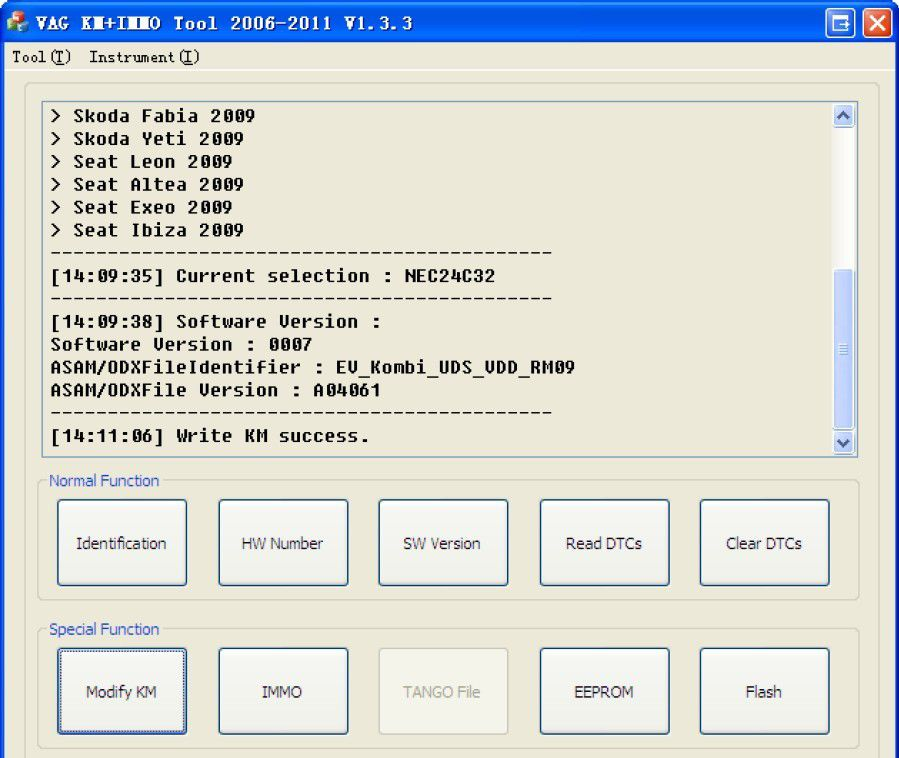 VAG KM+IMMO tool software display 6