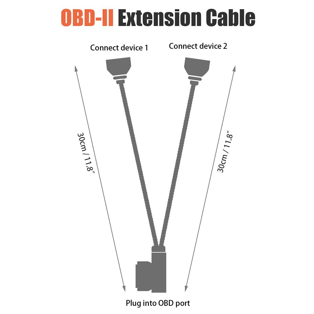1ft 30cm OBD2 16 Pin Right Angle Splitter Y Cable Male to 2 Female Y Splitter Extension Cable