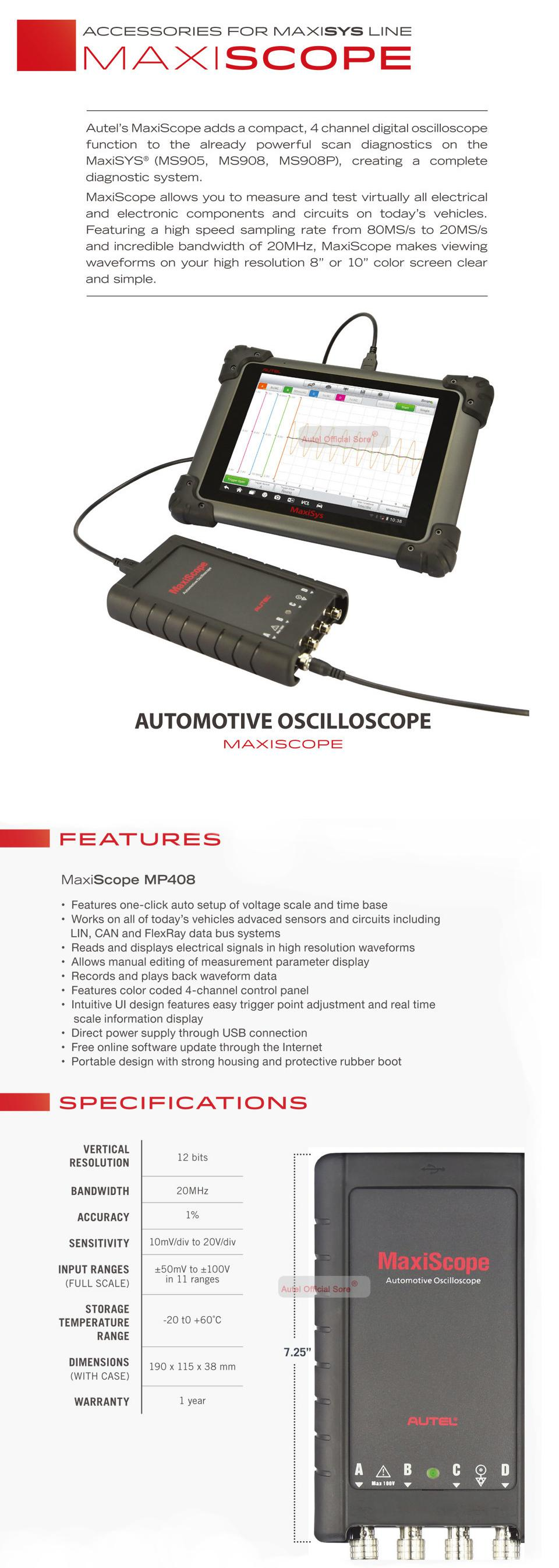 Autel MaxiScope MP408 4 Channel Automotive Oscilloscope Basic Kit