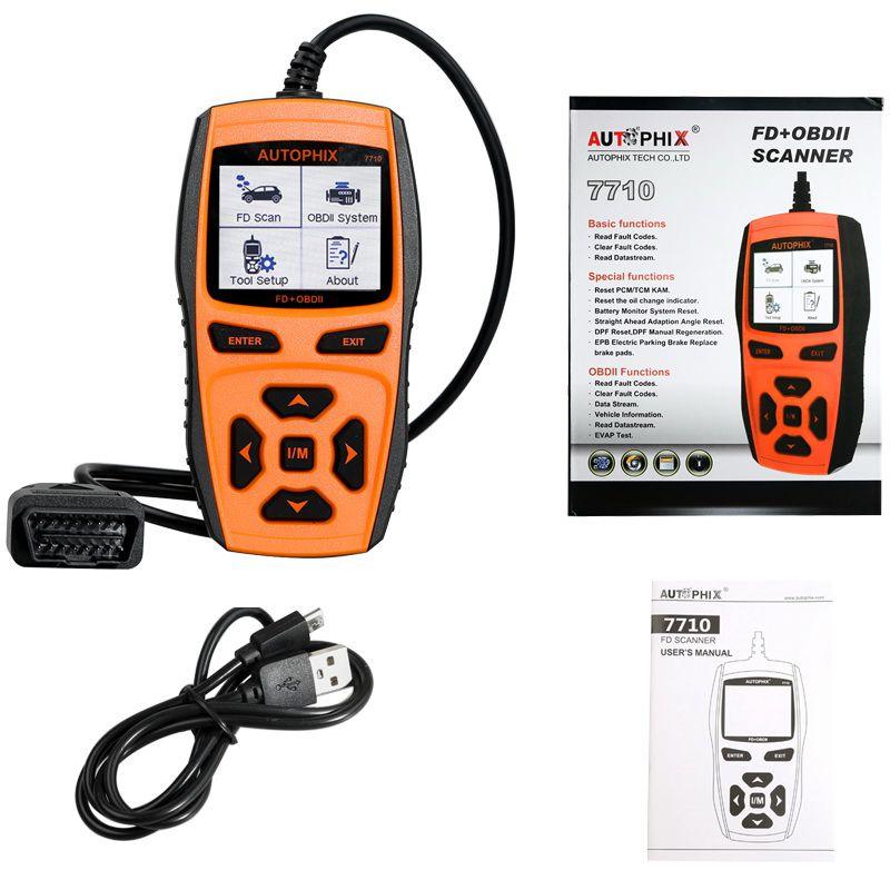 Autophix Automotive Diagnostic Tool 7710 OBDII OBD2 Scanner for Ford Car  Engine Fault Code Reader +ABS SRS Airbag EPB Oil Reset