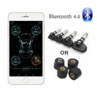 New TPMS Bluetooth 4.0 Tire Pressure Monitor System 4 Internal/External Sensor Works Android/iOS Mobile Phone APP Display