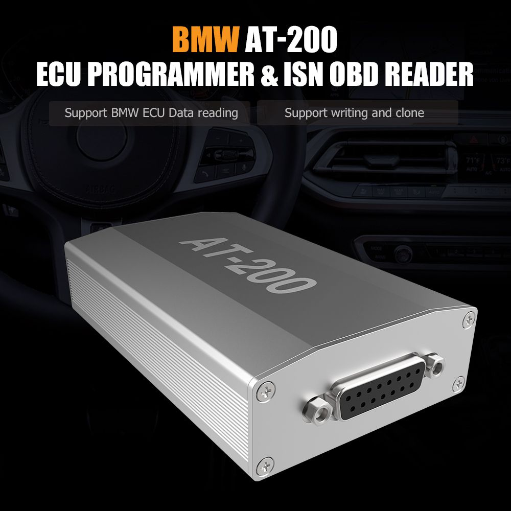 BMW AT-200 AT200 V1.5.0 ECU Programmer & ISN OBD Reader Support MSV90 MSD85 MSD87 B48 etc