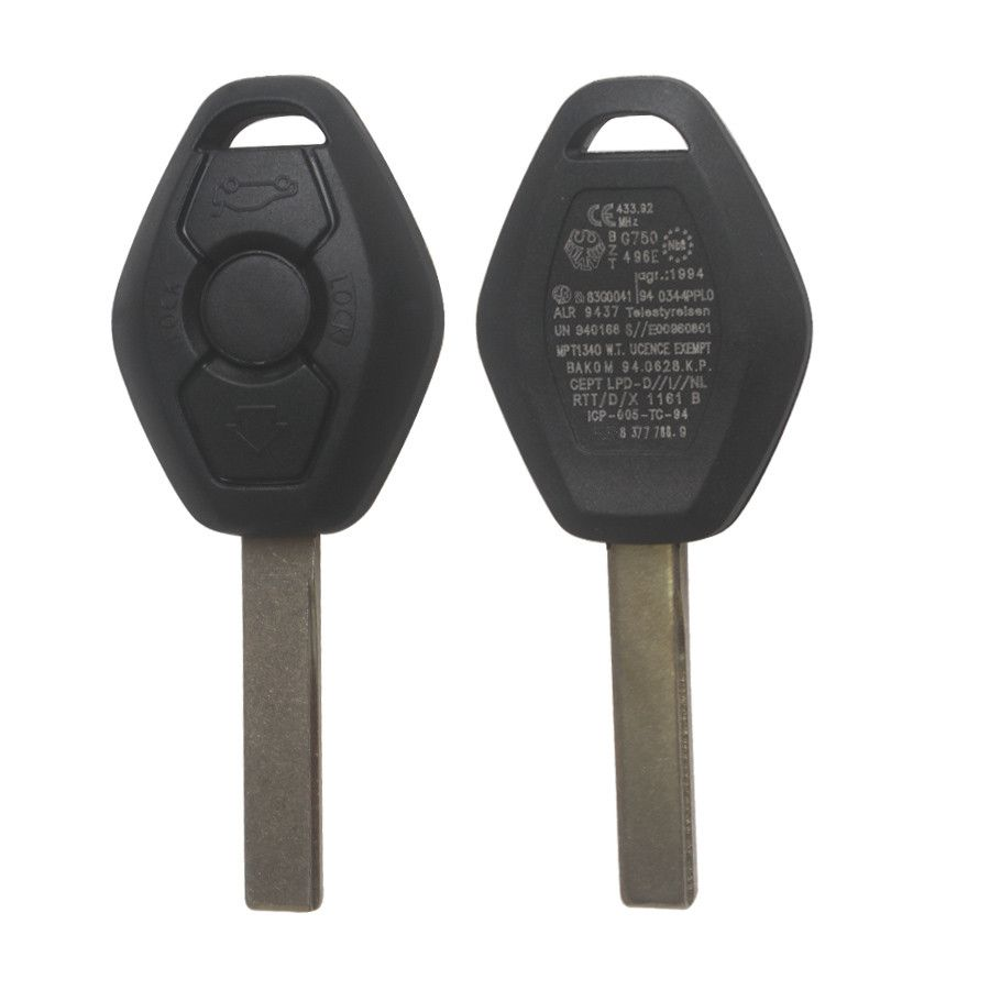 Key Shell 3 Button 2 Track (Back Side with the Words 433.92MHZ) For Bmw 5pcs/lot