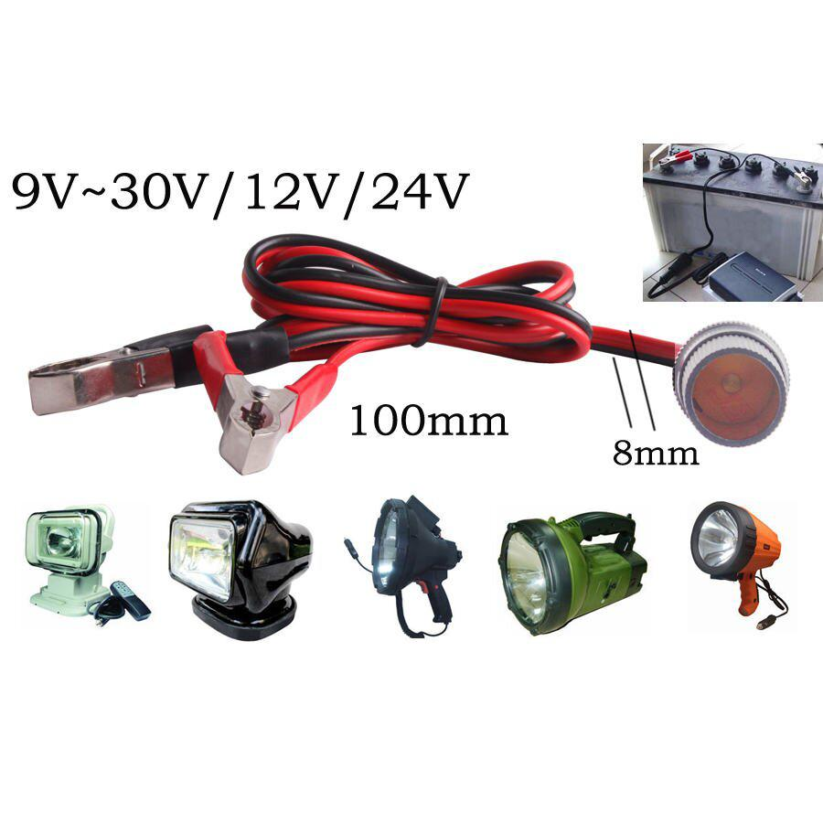 Car Truck 12V/24V Battery Terminal Clip-on Power Socket Cable Driving Light Off Road Spotlights JEEP SUV 35W 55W 70W 75W 100W