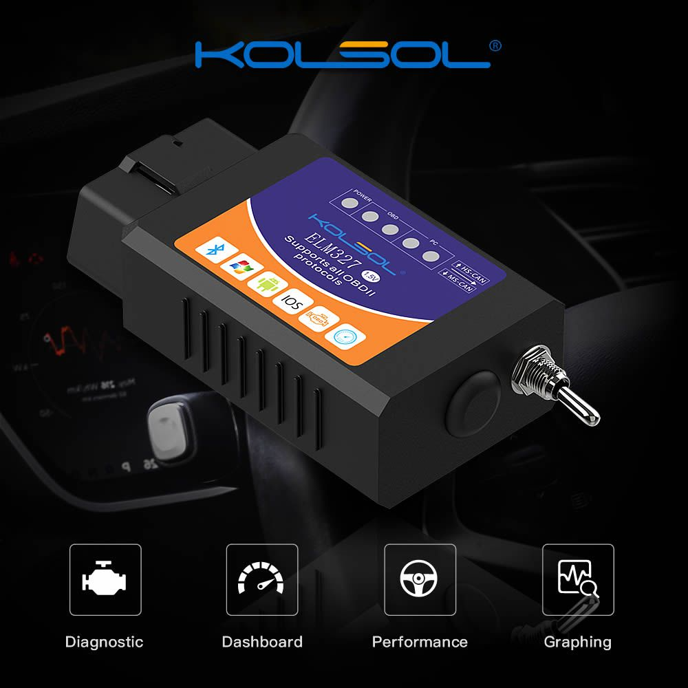 KOLSOL ELM327 Bluetooth OBD2 Scanner V1.5 ELM327 with Switch modified for Ford CH340+25K80 chip HS-CAN / MS-CAN