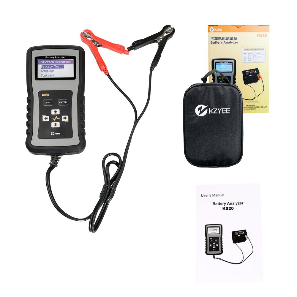 KZYEE KS20 Battery Analyzer for 12/24V Cars 100-1700 CCA Automotive Battery Load Tester Cranking and Charging System Diagnostic Tool