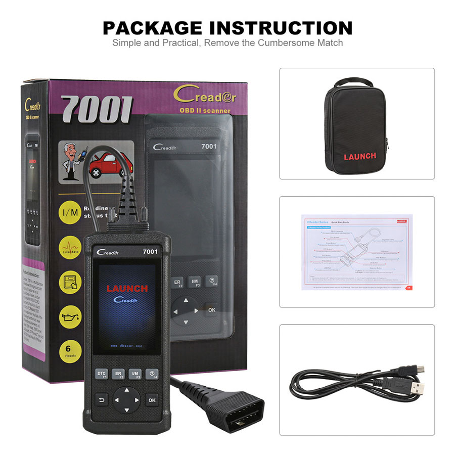 Launch code readers 7001F scan tools OBDII auto diagnostic scanner support 46 cars brands for kia/honda/seat/vw