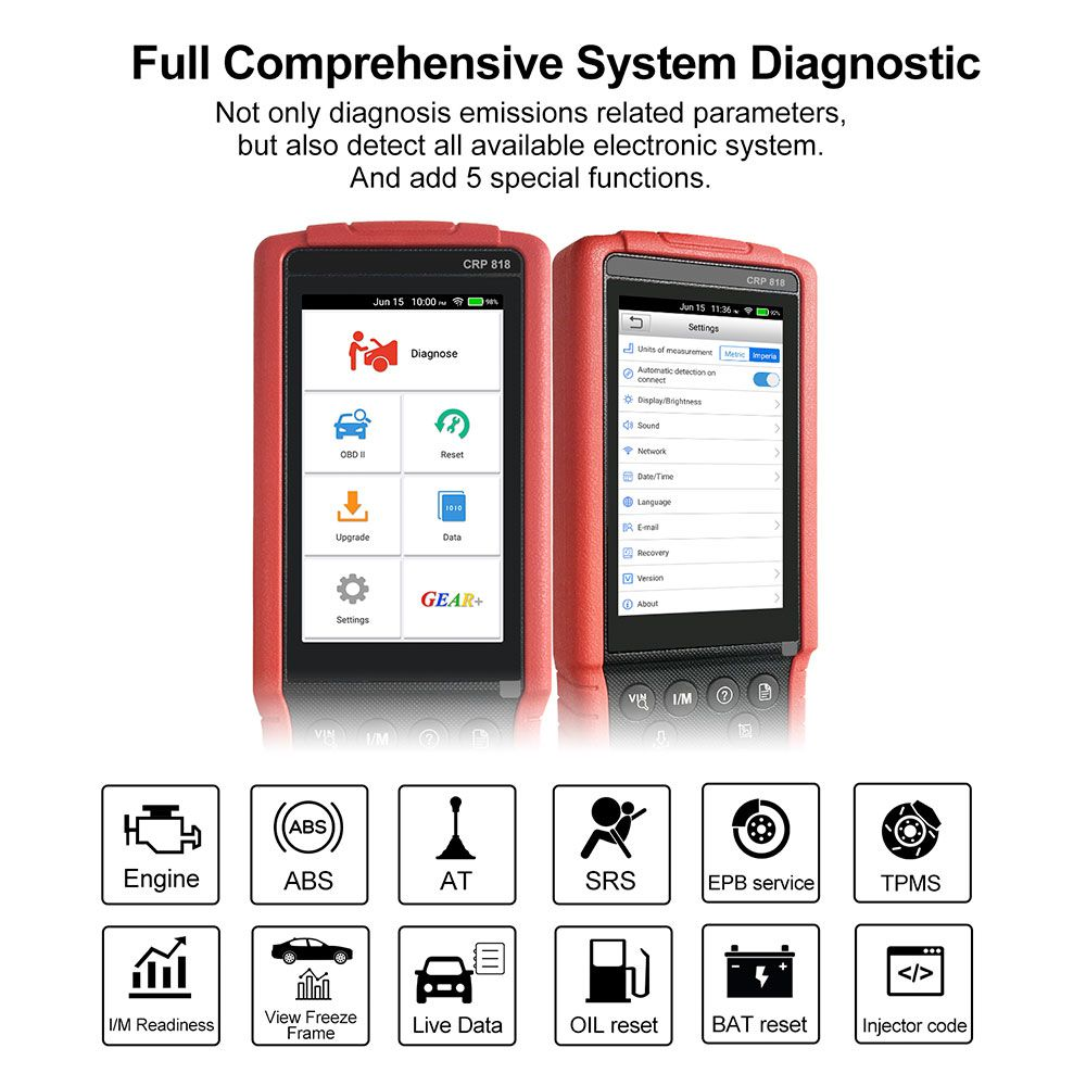 Launch CRP818 Full-System OBD2 Diagnostic Tool for European Cars Free Update Online