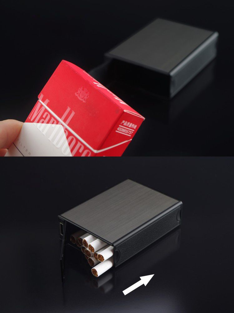 V707 Metal Cigarettes Case with USB Rechargeable Electronic Lighter