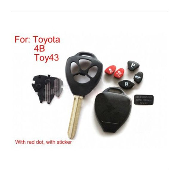 Remote Key Shell 4 Button With Red Dot For Toyota 5pcs/lot