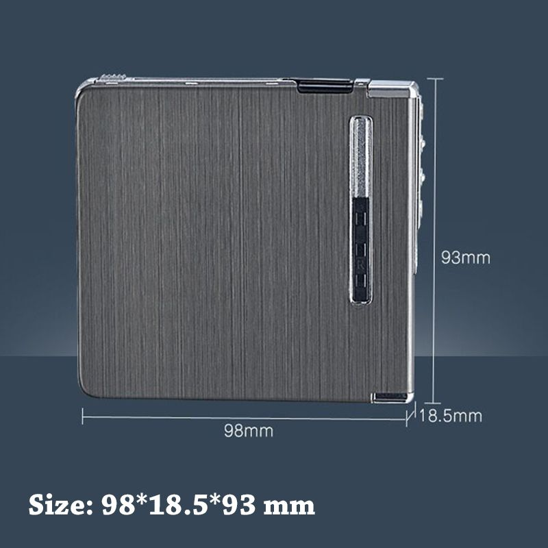 Thin Aluminum Automatic Ejection Metal Cigarette Case With USB Rechargeable Windproof Electric Lighters