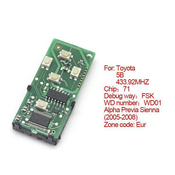 Toyota Smart Card Board 5 Buttons 433.92MHZ Number 271451-0780-Eur