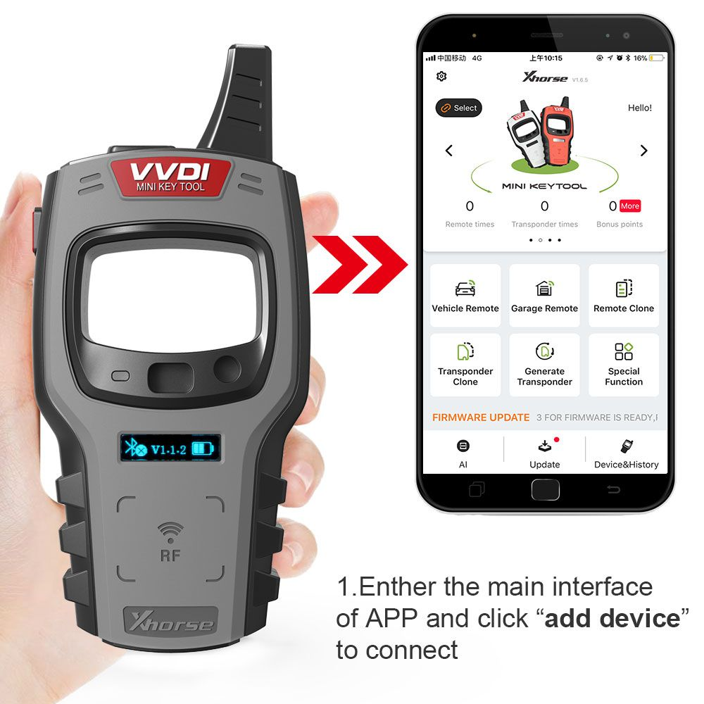 Xhorse VVDI Mini Key Tool Remote Key Programmer Support IOS and Android Global Version
